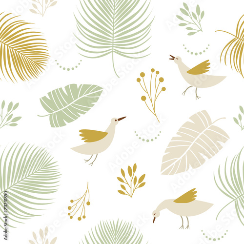 Seamless pattern with birds and  floral elements - 211241850