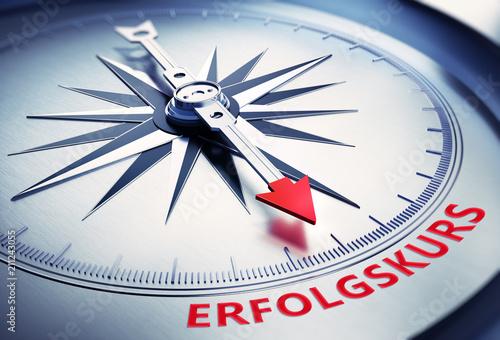 Leinwandbild Motiv Kompass Silber Erfolgskurs rot
