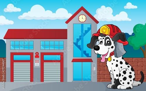 Fotobehang Voor kinderen Firefighter dog theme 3