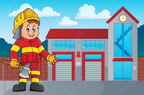 Fotobehang Voor kinderen Firefighter man image 3