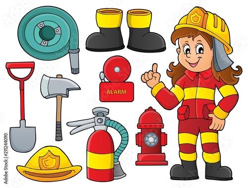 Fotobehang Voor kinderen Firefighter theme set 1