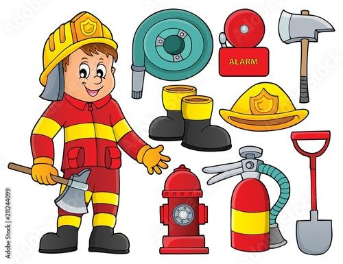 Fotobehang Voor kinderen Firefighter theme set 2
