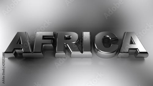 Fototapeta AFRICA metallic chrome write - 3D rendering