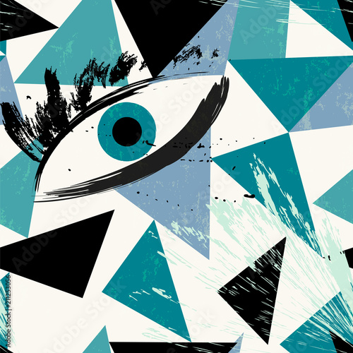 Aluminium Abstract met Penseelstreken abstract eye, stunning vector art with triangles, paint strokes and splashes, simple geometry, grungy touch.