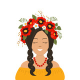 Cute smiling girl with braids in a wreath of flowers, leaves and berries. Portrait. Vector illustration on a white background. - 211259886