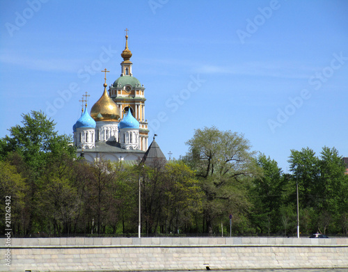 view of Moscow River in Moscow, Russia. Moscow architecture and landmark
