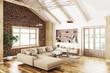 Interior of modern living room 3d rendering - 211267085
