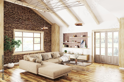 Interior of modern living room 3d rendering - 211267085