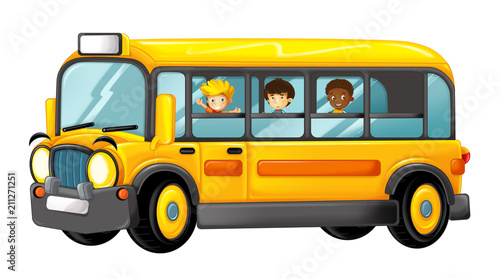 funny looking cartoon yellow bus with pupils - illustration for children - 211271251
