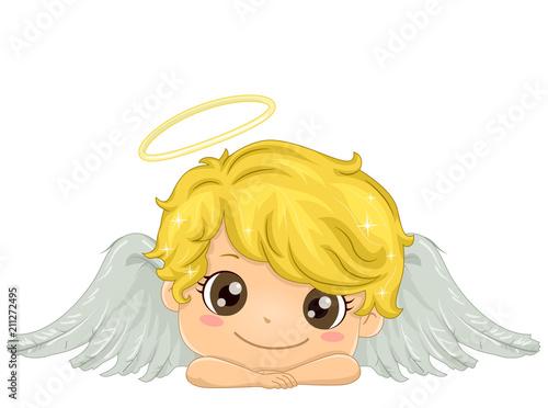 Kid Boy Angel Illustration - 211272495
