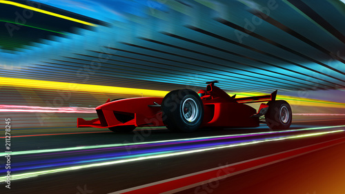 Fotobehang F1 Sport racing car fast driving to achieve the champion dreame , motion blur and lighting effect apply . 3D rendering and mixed media composition .