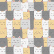 Cute adorable cat kitten seamless pattern background wallpaper - 211280003