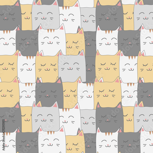 obraz lub plakat Cute adorable cat kitten seamless pattern background wallpaper