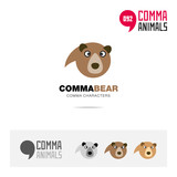 Bear animal concept icon set and modern brand identity logo template and app symbol based on comma sign