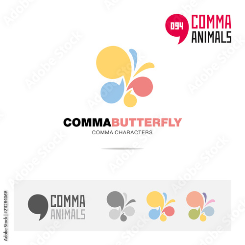 Butterfly animal concept icon set and modern brand identity logo template and app symbol based on comma sign