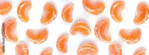 banner fresh juicy slices of ripe mandarin - 211286481