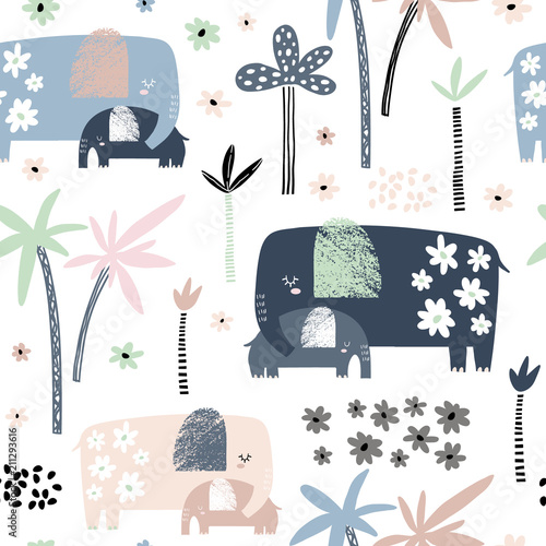Seamless pattern with cute mom and baby elephant, palm trees and flowers. Creative childish texture. Great for fabric, textile Vector Illustration - 211293616
