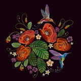 Elegant flowers poppies and tropical hummingbirds vector. Decorative floral embroidery - 211294611