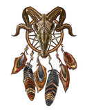 Embroidery native american dreamcatcher and bison skull. Template t-shirt design, clothes. Tribal art. Esoteric symbol, boho design - 211294615