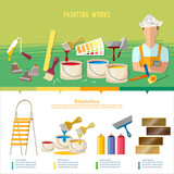 Professional instrument of painter. Planning and design of home repair. House repair infographic. Painter paints walls, pastes wall wall-paper - 211294619