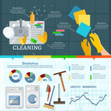 Cleaning service infographic banner. Washing windows home cleaning - 211294620
