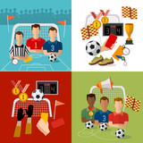 Soccer set, football team, signs and symbols of professional soccer elements - 211294626
