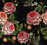 Roses embroidery on a black background seamless pattern - 211294631