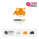 Cat animal concept icon set and modern brand identity logo template and app symbol based on comma sign