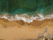 Aerial view of sandy beach with waves. Drone photo  - 211298473