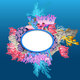 Oval frame made of corals with space for your text or image. Vector cartoon close-up illustration.