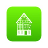 Holland house icon green vector isolated on white background