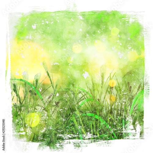 Aluminium Lime groen Watercolour background of green grass image