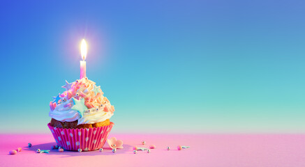 Birthday Cupcake With One Candle