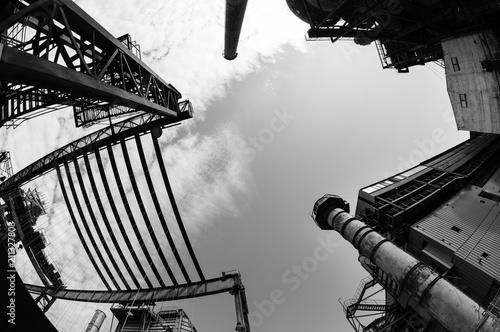 Fotobehang Oude verlaten gebouwen Abandoned buildings in Dolni Vitkovice industrial area, Ostrava, Czech Republic