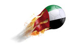 Flying Flaming Soccer Ball with United Arab Emirates Flag