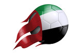 Flying Soccer Ball with United Arab Emirates Flag