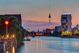 The River Spree in Berlin after sunset with the TV Tower in the back - 211347479