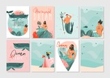 Hand drawn vector abstract graphic cartoon summer time flat illustrations cards template collection set with beach people,mermaid and whale,sunset and tropical birds isolated on white background - 211353402
