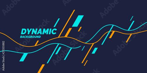Jasny plakat z dynamicznymi falami. Ilustracja minimalistycznym stylu płaskiej