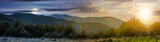 time change concept over the Carpathian mountains. panorama with sun and moon in the sky. beautiful landscape with forested hills and Apetska mountain in the distance.  - 211356819
