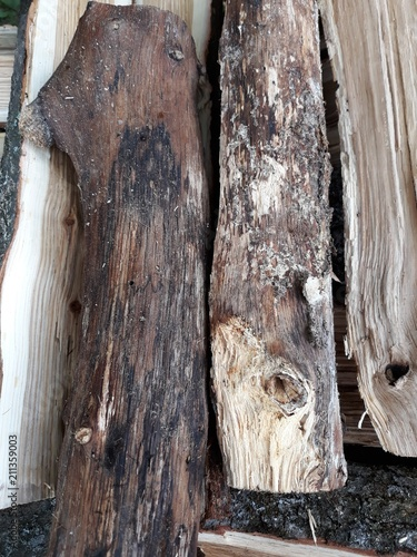 Heap of chopped wood. Texture of wood - 211359003