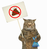 The cat holds a sign