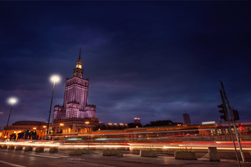 warsaw center at night and the palace of culture and science
