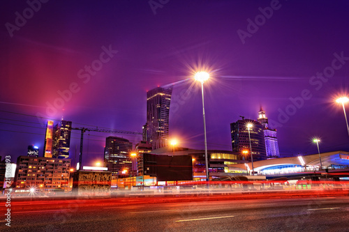 Fototapeta panorama of the city of Warsaw by night