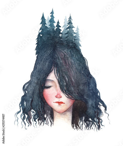 A forest girl. Watercolor portrait isolated on white background. - 211374487