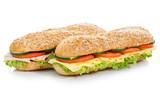 Baguette Brötchen mit Käse und Schinken Sandwich Freisteller freigestellt isoliert