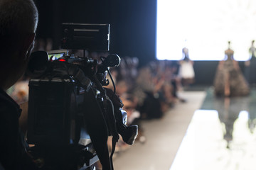 Television Camera Broadcasting a Fashion Show, Runway Catwalk Event.