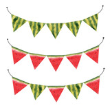 Watercolor watermelon flags - 211401668