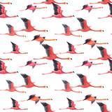 Watercolor flamingo pattern - 211401693
