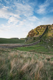 Beautiful landscape image of Hadrian's Wall in Northumberland at sunset with fantastic late Spring light - 211402481